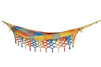 Rede de solteiro quadriculada amarela, laranja e azul piscina 100% algodão com varanda macramé - Foto 5