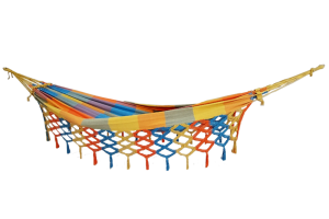 Detalhes do produto Rede de solteiro quadriculada amarela, laranja e azul piscina 100% algodão com varanda macramé