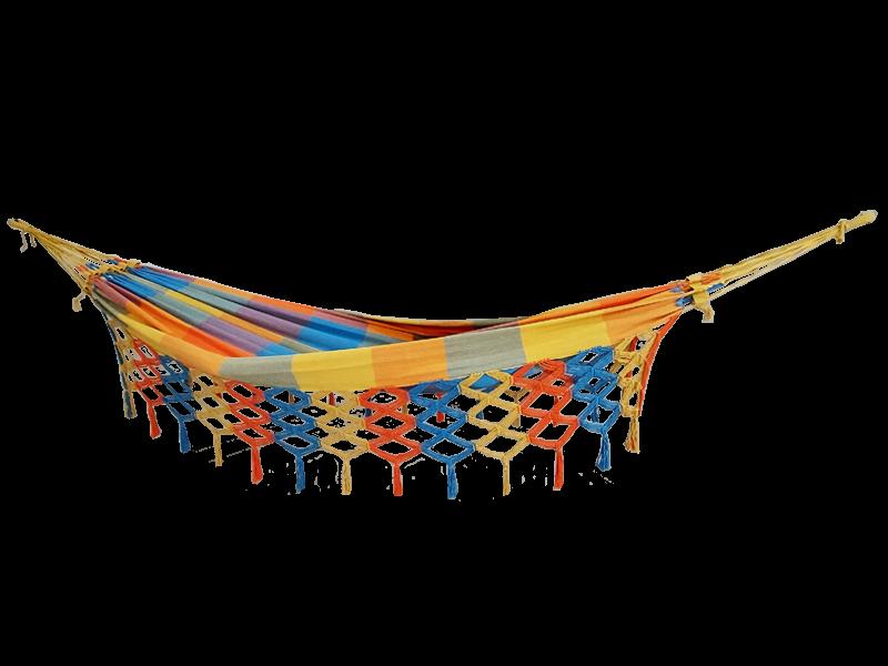 Rede de solteiro quadriculada amarela, laranja e azul piscina 100% algodão com varanda macramé